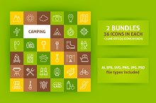Camping Line Art Icons