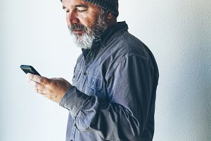 Man using his smartphone