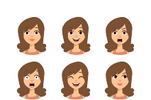 Woman emoji face vector icons