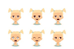 Girl emotions face vector