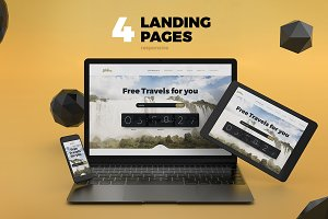 4 Landing Pages. Responsive (.psd)