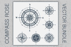 Compass Rose Vector Huge Set