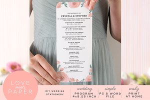 Wedding Program Template P1025