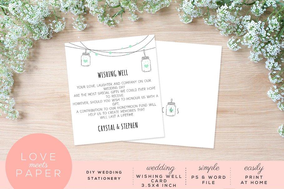 Wishing Well Wedding.Wishing Well Wedding Card W1017