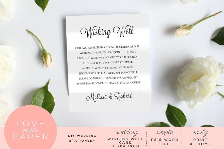 Wishing Well Wedding.Wedding Wishing Well Card W1022