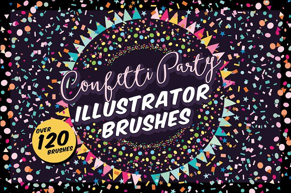 confetti party illustrator brushes brushes creative market
