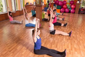 Group training girls, sitting