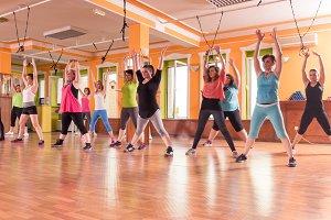 group training women indoors fitness