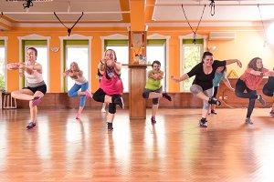 group training women standing leg