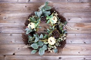 Autumn Holiday Wreath on wood