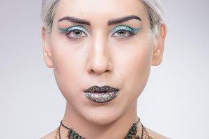 woman eccentric style head face