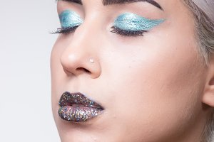 young woman eccentric style makeup
