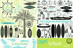 Sand & Sea Brush Clipart & Patterns