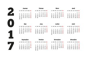 Set of simple calendars in french