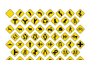 Big set of yellow road signs