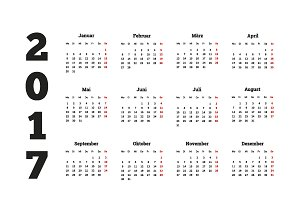 Set of simple calendars in german