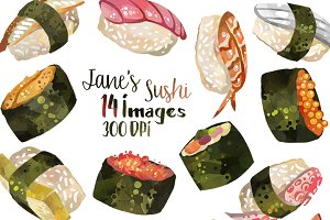 Watercolor Sushi Clipart