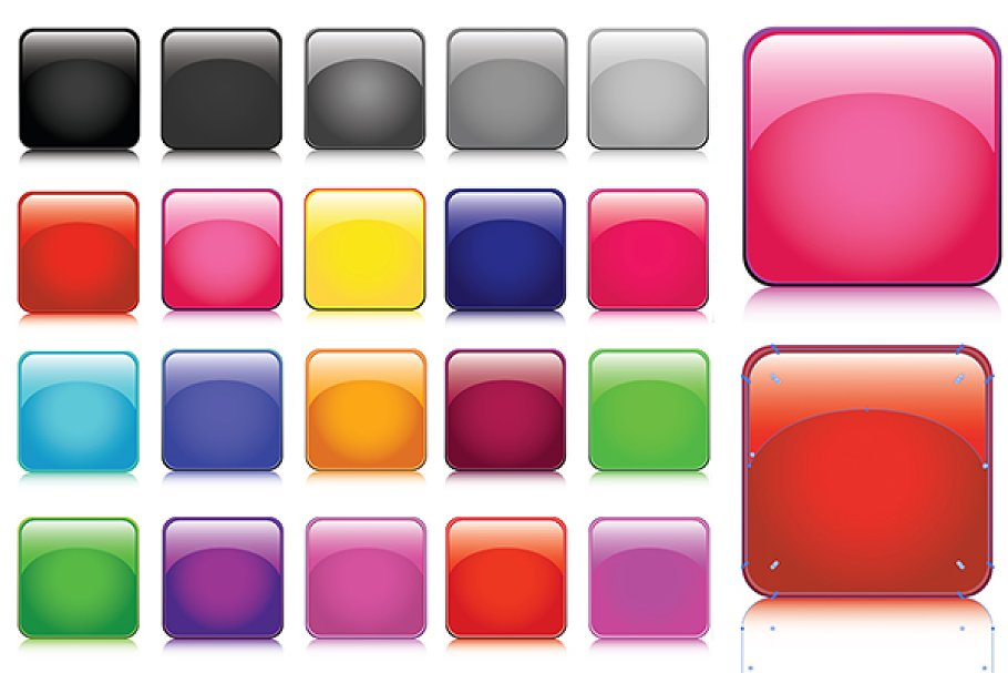 Rounded Glossy Square Vector Buttons