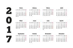 Set of simple calendars in spanish