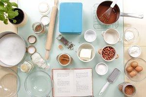 Cook table ingredients elevated view