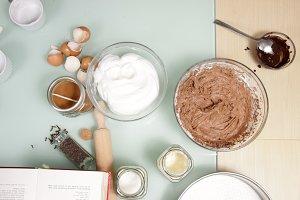 cooking table cake ingredients