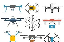 Drone quadcopter vector set