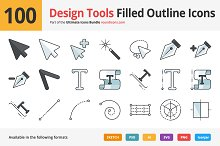 100 Design Tools Filled Outline Icon