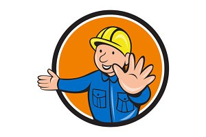 Builder Hand Stop Signal Circle