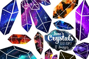Illustrated Space Crystals Clipart