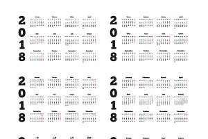 Set of 2018 year simple calendars