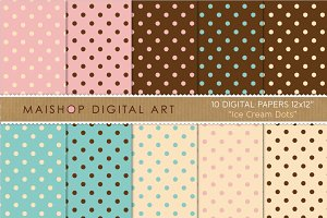 Digital Papers  - Ice Cream Dots
