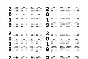 Set of 2019 year simple calendars