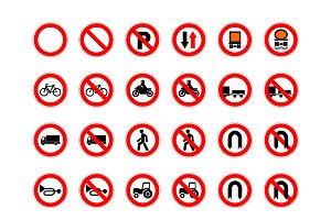Big set of forbidden road signs
