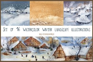 Watercolor X-mas backgrounds