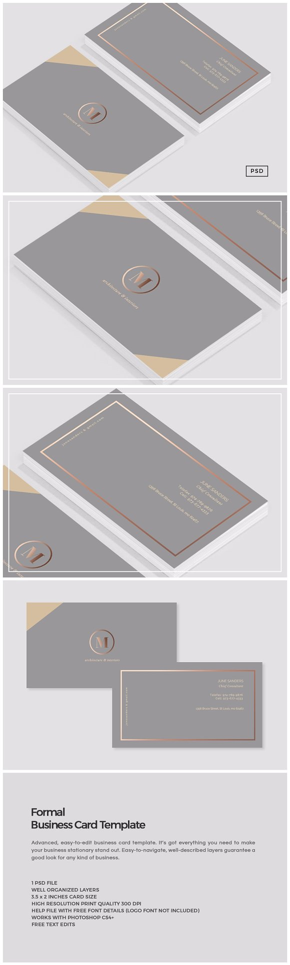 Formal Business Card Template ~ Business Card Templates ~ Creative ...