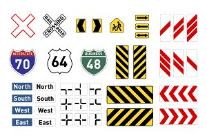 Different warning road signs