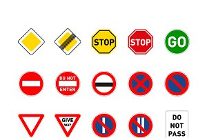 Set of different road signs