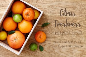 4 stock photos - Citrus fruits box