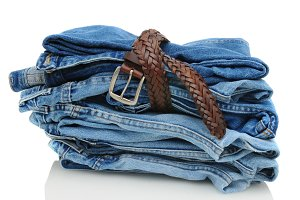 Stack of Denim Blue Jeans with Belt