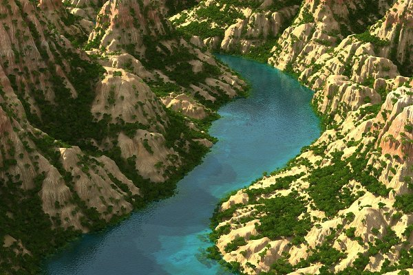 3D Environment - Mountain terrain with lake