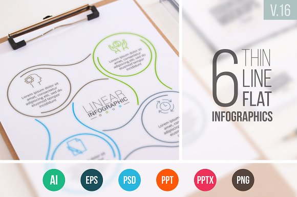 Linear elements for infographic v.16 - Presentations
