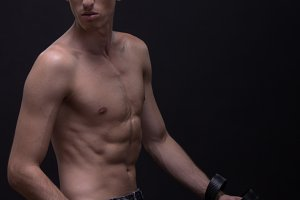 nude young man shirtless abs fit