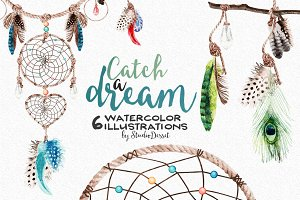 Watercolor Dreamcatcher Cliparts