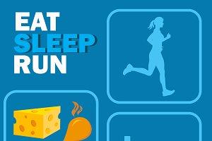 eat sleep run concept, vector