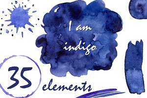 Watercolor Clipart - I am indigo