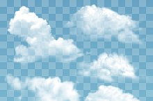 Transparent different clouds vector
