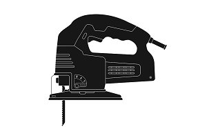 Electric jigsaw tool. Vector