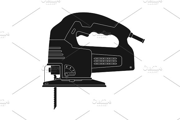 Electric jigsaw tool. Vector - Illustrations