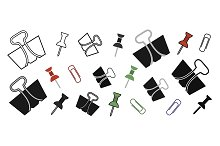 Office paper pins and clips. Vector