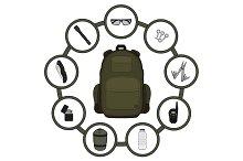 Traveler backpack contents. Vector
